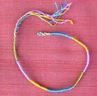 Natural Handmade Colorful Silk String Bracelet fr Nepal Purple Gold Turquoise 8""