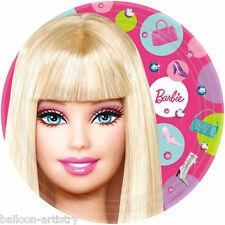 "8 Pink Fashion Barbie Birthday Party 9"" Disposable Paper Plates"