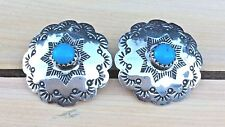 Vintage CONCHO Earrings Sterling Silver Turquoise Stamped Scalloped Navajo