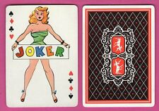 Single Swap Playing Card JOKER #E9 PINUP ART SEXY GIRL VINTAGE CARTOON WIDE DEER