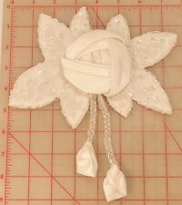 """Beautiful vintage white satin flower beaded applique 2 dangling buds leaves 7.5"""""""