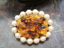 VINTAGE MARVELLA ART DECO BROOCH YELLOW PEKING GLASS STONE & PEARLS BROOCH PIN