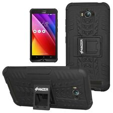 AMZER Black Dual Layer Hybrid Warrior Case w/ Stand For Asus Zenfone Max ZC550KL
