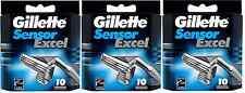 Mens Gillette Sensor Excel Razors Blades, 30 Cartridges, FREE SHIPPING