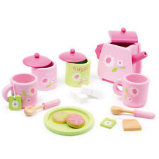 Wooden Pink Tea Set Kitchen Role Play Toy Fun Food Tea Party Pretend Play
