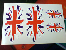 Union Jack Drapeau Splat 100mm & 50mm lot de 4 Go UK Voiture Van bumper stickers autocollants