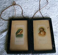 "Mater   Dolorosa    &   Ecce   Homo  1930's   Framed  Pictures  7 "" By 4"" Inches"