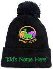 Three Dinosaurs Black Pom Pom Beanie Hat with Kid's Free Name