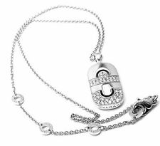 Authentic! Bulgari Bvlgari Parentesi 18k White Gold Diamond Pendant Necklace