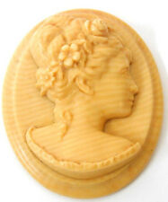 Early 1900's High Relief Ivorine Celluloid Cameo Lady w' Flowers in Hair -Reuse