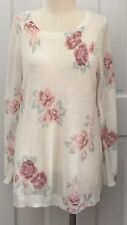 NWOT Womens LL Lauren Conrad cream floral lightweight Top sweater size L Large