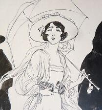 Dessin original de Edouard ZIER (1856-1924) la belle espagnole vers 1915