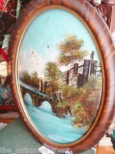 Antique Convex Bubble Glass Wood Frame- reverse painting on glass