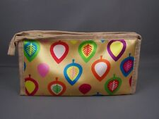 Gold leaf leaves print satin fabric zip top coin purse makeup bag pouch
