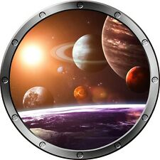 "12"" Porthole Space Ship Window SOLAR SYSTEM #1 ROUND Wall Sticker Decal Graphic"