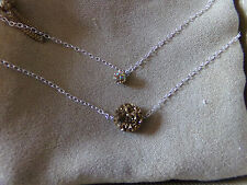 Round Gold Color Drusy Quartz With Round Crystal Fireball Bead Sterling Silver