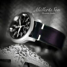 Müller&Son Genuine Horween Leather Black 20 mm Watch Strap Custom Made in USA