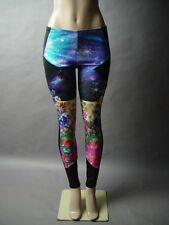 Cosmic Space Galaxy Floral Garden Landscape Graphic Photo Print Legging Pant L
