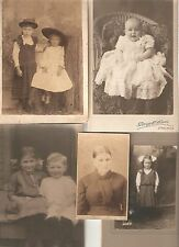 ID'd CABINET CARD PHOTOS, 1 CDV, set of 5, SOME ID'd, Sweet Children, Older Lady