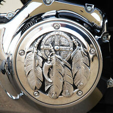 Medicine Bundle derby cover in polished aluminum. Harley Twin Cam. DCMBP-1
