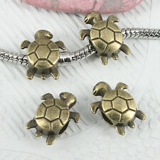 8pcs antiqued bronze tone 2sided turtle design loose bead EF0885