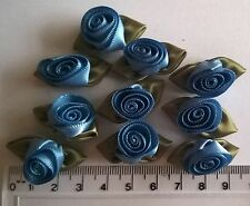 RIBBON ROSES x 10  Satin Large - Craft Wedding Baby Bunting Sew - Blue