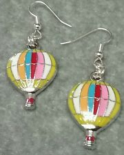 Multi-colored enamel hot air balloon dangle earrings