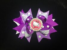 HELLO KITTY HANDMADE HAIR BOW RHINESTONE CABOCHON EMBELLISHMENT POLKA DOT PURPLE