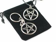 Inverted Pentagram English Pewter pendant and  keyring set, 2nd Degree, Masonic