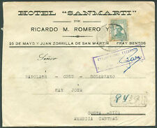URUGUAY TO COSTA RICA Registered Cover w/Adv - Fray Bentos Cancellation - FVF!