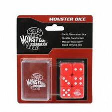 Monster Protectors Colored Dice 6x  D6 Logo Die W/  Carrying Case (Red)  MTG