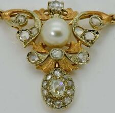 $34000 antique Imperial Russian Faberge 18k gold&3ct DIAMONDS&Pearl Necklace