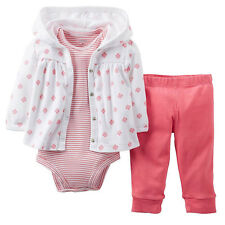 Carter's 3-pc. Pink Hooded Cardigan Set- 9 months NWT Baby Girl