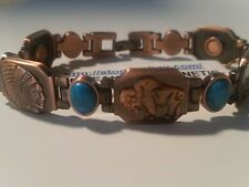 "8 1/2"" COPPER TURQUOISE BUFFALO TEPEE MENS MAGNETIC BRACELET PAIN RELIEF THERAPY"