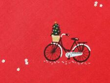 Christmas Bicycles Bike Red Mini Print Dear Stella Cotton Quilting Fabric Yard