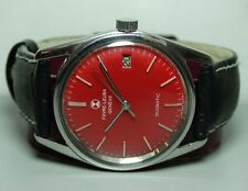 VINTAGE FAVRE LEUBA GENEVE DAYMATIC AUTO MENS WRIST WATCH OLD USED B418 Red