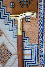 "WALKING CANE~Wood & Smooth Brass 37"" COMFY DERBY STICK~BRITISH DOWNTON LOOK!"