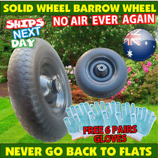 "16"" Solid Rubber Wheel Barrow Cart Tyre Solid Flat Free Tire 24.6mm Bore 390mm"