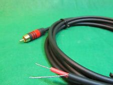 2 Ft DC PRO Speaker Subwoofer Shielded Cable, Gold RCA to Bare Wire.