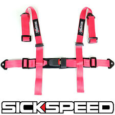 "1 PINK 4 POINT 2"" NYLON RACING HARNESS ADJUSTABLE SAFETY SEAT BELT BUCKLE"