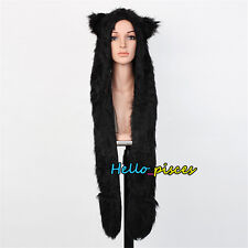 Faux Fur Full Hood Hat Black Cat Hat Long Mittens Scarf & paws Spirit 3 in 1 USA