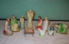 Vintage 11 Piece Nativity Set Nativity Ceramic Figures Plaster Religious Figures