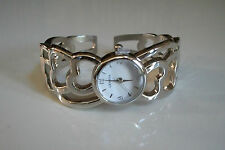 SILVER FINISH  HEART SHAPE DESIGNER STYLE WOMEN'S BANGLE CUFF CZ WATCH