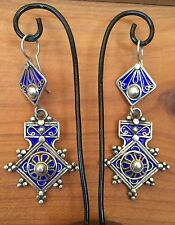 Silver Moroccan Cross Earrings Enamel Evil Eye Amulet Southern Berber Talisman