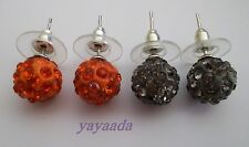 Pack 2 pairs of Crystal Disco Ball Beads stud Earrings.