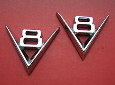 "~ V8 PAIR METAL CAR EMBLEMS Badges *NEW & UNIQUE!* 3"" or 75mm Suit Ford Chev"