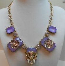 Betsey Johnson Elephant And Multi Lavender Stone Gold Tone Necklace