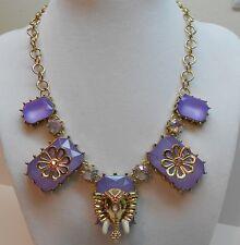 Betsey Johnson Elephant And Multi Lavender Stone Gold Tone Necklace
