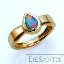 Unique 14kt Yellow Gold Australian Natural Opal Ring Size 6.25 Made in USA