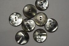 8pc 17mm Smokey Grey Pearl Flower Etched Coat Skirt Baby Cardigan Button 3041